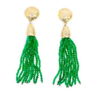 Rosantica Clip On Gold and Green Beaded Drop Earrings