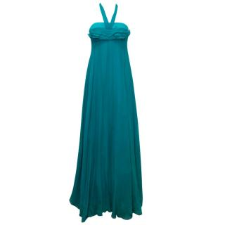 Yves Saint Laurent Teal Silk Strapless Lace Up Gown