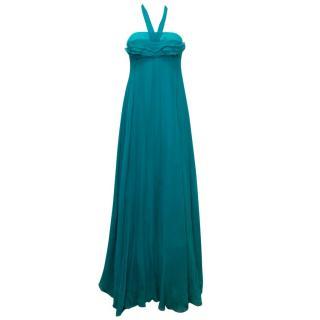 Yves Saint Laurent Teal Silk  Gown