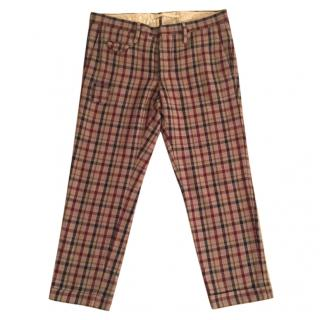 Incotex wool & cotton blend plaid crop slim fit trousers