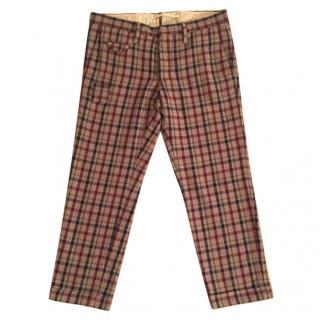 Incotex wool & cotton blend plaid crop slim fit trousers