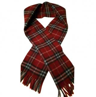 Burberry London Wool Women's Scarf Nova Check Red Logo