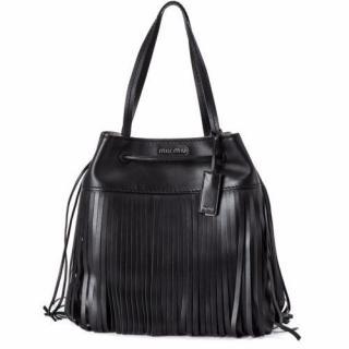 Miu Miu black fringed hand bag