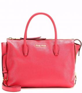 Miu Miu Madras Leather Tote in Pink