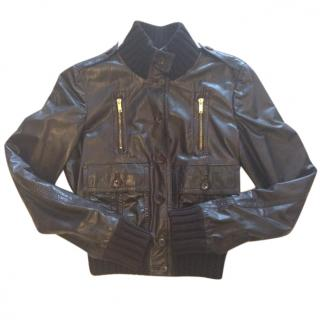 Gucci Madonna Bomber Jacket In Brown Leather