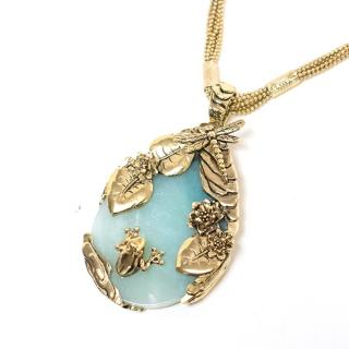 Roberto Cavalli Special Aquamarine Frog And Dragonfly Necklace