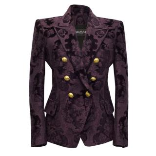 Balmain Purple Embroidered Blazer With Gold Buttons