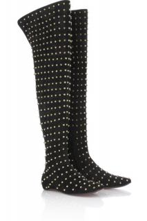 Christian Louboutin Spike Black Suede Thigh Boots