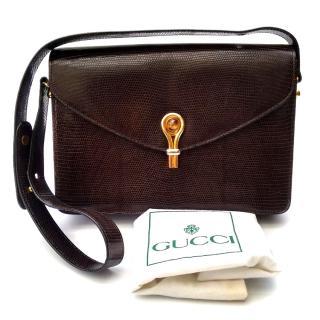 Gucci lizard leather shoulder bag.
