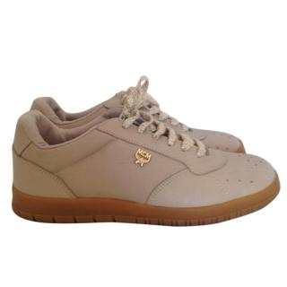 MCM beige leather and canvas sneakers
