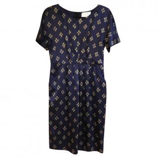 3.1 Phillip Lim navy blue gold printed dress