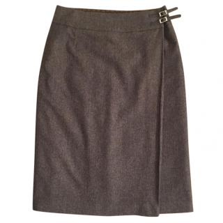 Mulberry brown wool blend tweed wrap pencil skirt leather straps