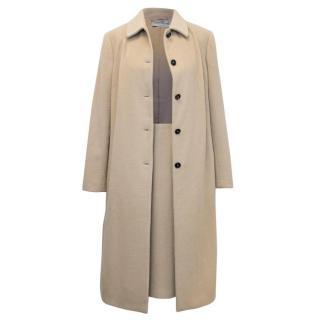 Dolce and Gabbana Beige Angora Coat and Skirt