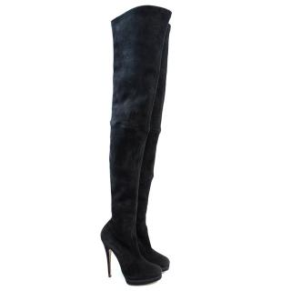 Casadei black thigh high suede boots
