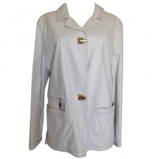 Ermano Daeli short white leather blazer