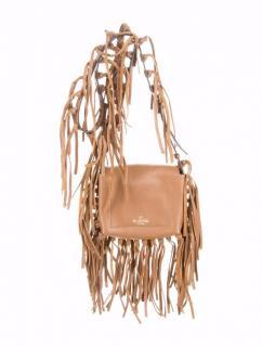 Valentino C-Rokee pebbled leather fringe shoulder bag