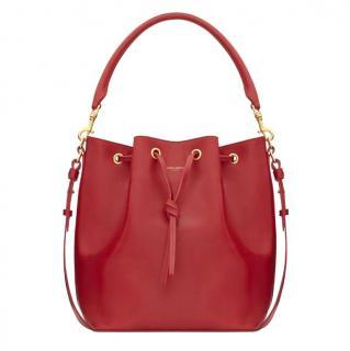 Saint Laurent Red Leather Medium Bucket Bag