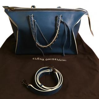 Elena Ghisellini Blue Leather handbag