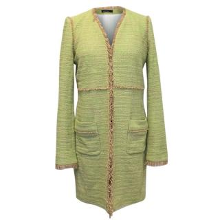 Marc Cain Green and Beige Tweed Coat