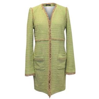 Marc Cain Green and Beige Tweed Coat