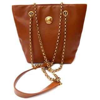 Chloe Vintage Tan Epi Leather Shoulder Tote Bag with a Chain Strap