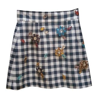 Dolce and Gabbana Check Jewelled Skirt