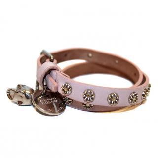 Alexander McQueen Pink Leather Wrap Bracelet