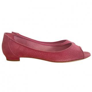 Manolo Blahnik Pink Suede Open Toe Ballet Flats
