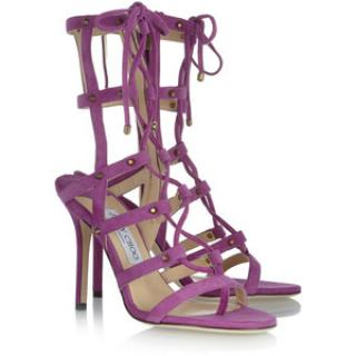 Jimmy Choo Meddle Purple Suede Gladiator Sandals