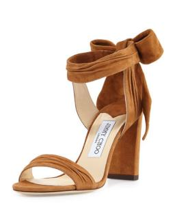 Jimmy Choo Kora Brown Suede Leather Heeled Sandals