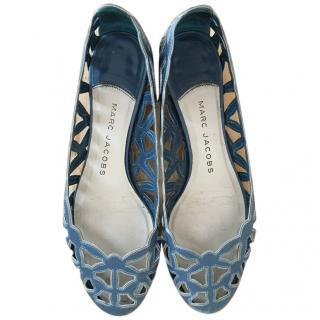 Marc Jacobs Blue Laser Cut Out Leather Ballet Flats