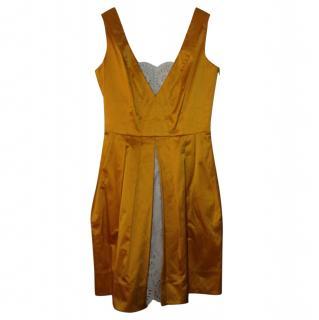 Diane Von Furstenberg Yellow Satin and Lace Dress