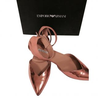 Emporio Armani Light Pink Metallic Leather Shoes