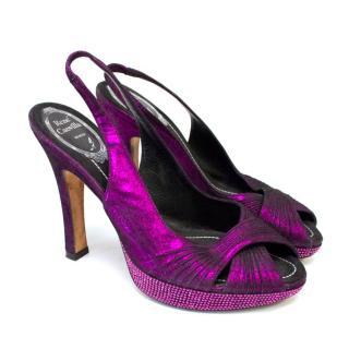 Rene Caovilla Purple Shimmer Sling Back Peep Toe Pumps