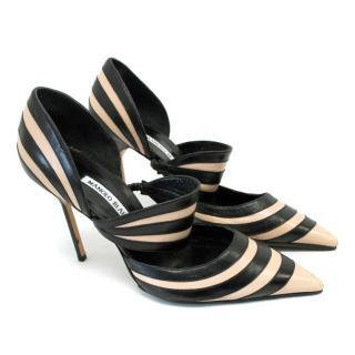 Manolo Blahnik Black And Cream Pointed Toe Heels