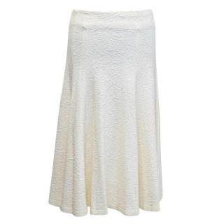 Alice and Olivia Cream Textured Skirt