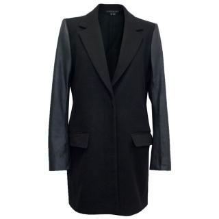 Theory Black Leather Sleeves Coat