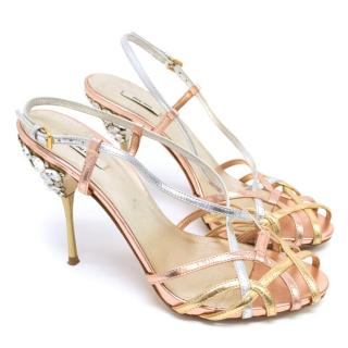 Miu Miu Rose Gold Heeled Sandals With Diamantes