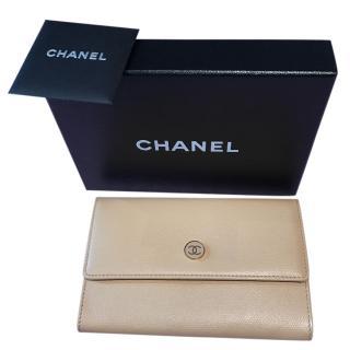 Chanel Beige Flap Wallet