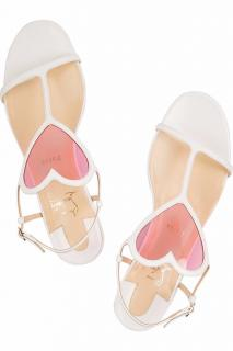 Christian Louboutin White Cora flat patent leather Sandals