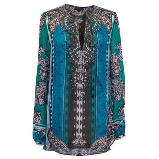 Hale Bob Silk Patterned Loose Fitting Embellished Bliuse