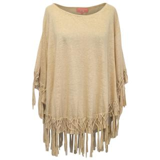 Manoush Beige Oversized Top With Tassels