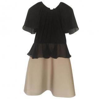 Max Mara Black and Beige silk dress
