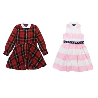 Ralph Lauren Girls Tartan And Pink And White Dress