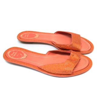 Rene Caovilla Orange Flat Sandals With Crystals