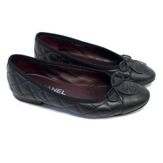 Chanel Black Quilted Leather Ballet Flats