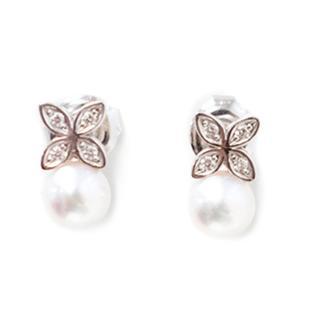 Mikimoto Cultured Pearl And Diamond Earrings