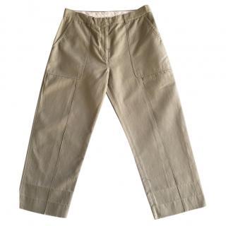 Celine Cotton-Linen Green Cargo Trousers
