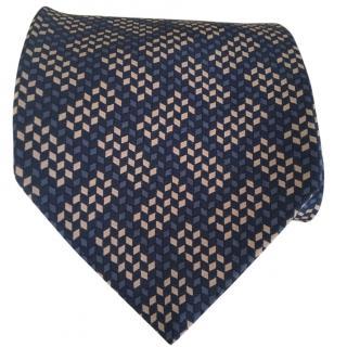 Emporio Armani Navy Blue Patterned Tie