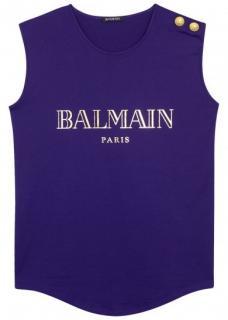 BALMAIN Violet logo-print cotton tank